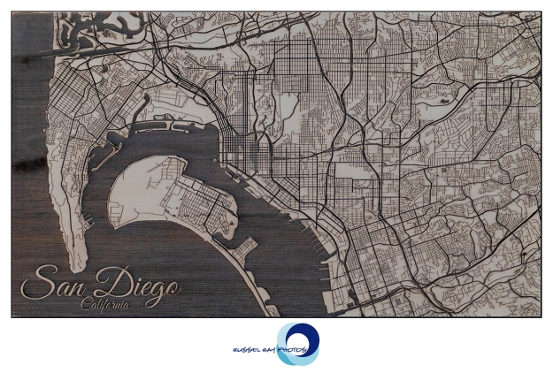 San Diego map laser-etched on pine