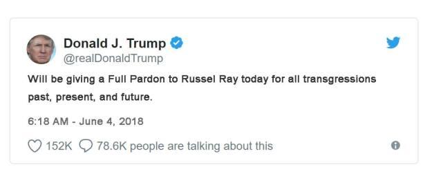 Twitler pardons Russel Ray