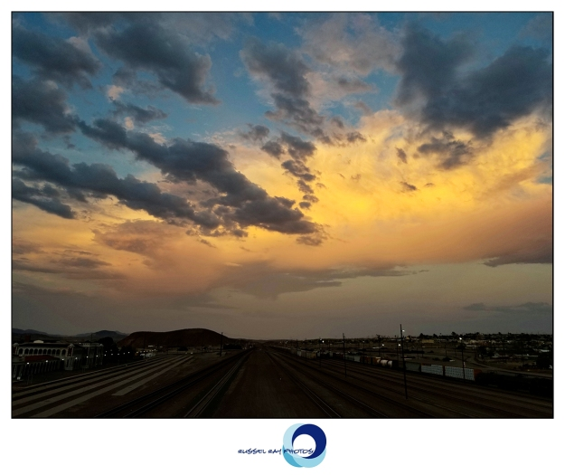 Sunset over the railroad yard in Barstow, California