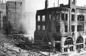 Los Angeles Times building after being destroyed by a bomb in 1910