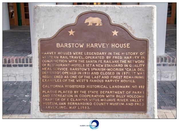 Barstow Harvey House historical marker