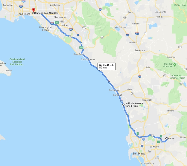 Map from home to Long Beach