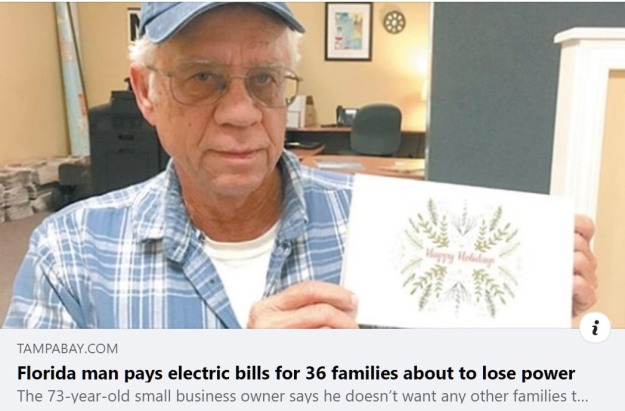 Florida man pays electric bills